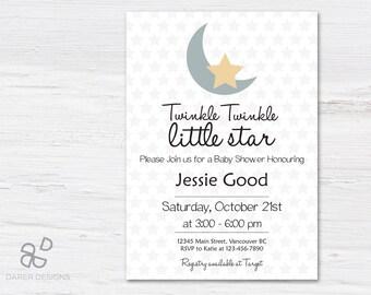 Twinkle Twinkle Little Star Baby Shower Invitation, Twinkle Twinkle Little Star Invitation, baby shower invitation, baby shower invites