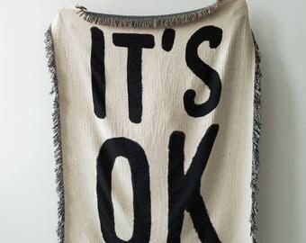 IT'S OK Woven Throw Blanket - Black and White Throws for Dorm Room Decor, Dorm Blankets, Dorm Tapestry