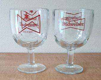 Budweiser Beer Glass Set of 2~Budweiser Schooner~Budweiser Chalice King of Beers Promotional Barware Thumbprint Glass Pedestal Beer Glass