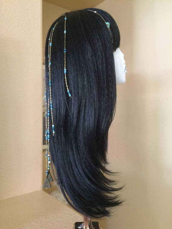 Black Cleopatra Wig with Ceramic Turquoise and Metal Beads