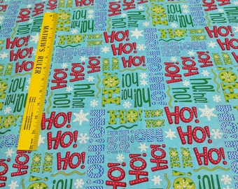 Ho! Ho! Ho! Blue Cotton Fabric Designed by Deb Strain for Moda Fabrics