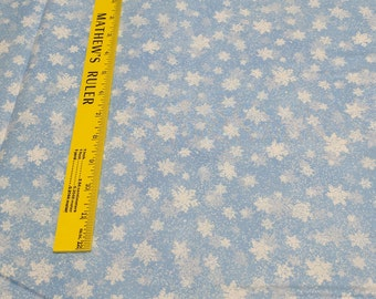Quiet Bunny & Noisy Puppy-Light Blue Snowflakes Cotton Fabric from Wilmington Prints