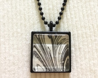 Custom hand painted marble pendant necklace