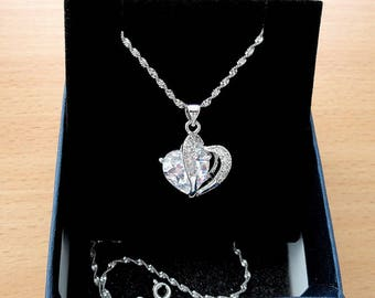 Heart necklace heart pendant silver heart jewelry womens gift for wife gift girlfriend gift for her birthday gift cubic zirconia pendants