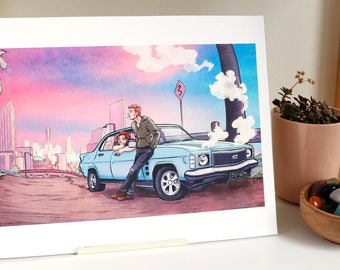 SALE! - Broken Down - Giclée Print - A4 Print - Holden Classic Car Adventure On the Road Bright Colour Original Art Illustration