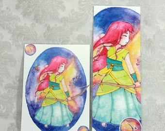 Postcard & Bookmark zodiac - Sagittarius