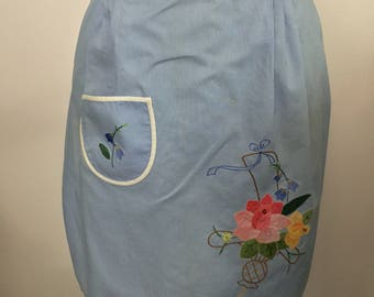 Vintage Blue Half Apron Applique and Embroidery Flower Design