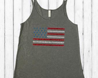 Glitter American Flag, slouchy tank top
