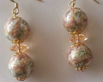 Crystal and Japanese TENSHA beads - swarovski earrings-
