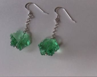 Green cut glass flowers on sterling silver chain