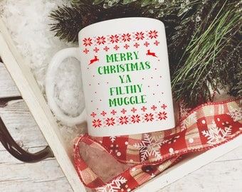 Merry christmas ya filthy mug/  merry christmas/  christmas mug/  plaid coffee mug/  christmas coffee mug/  merry christmas
