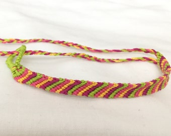 Pink, Magenta, Lime Green, and Yellow Candy Stripe Friendship Bracelet