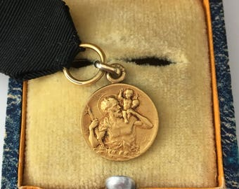 Saint Christopher Vintage Gold Plated Medal by Murat and Mourning Ribbon Early 20th Century French Signed BRAYAT