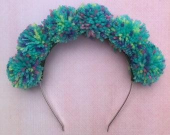 Green Pom Poms, Pom Pom Headband, Mermaid Headband, Pom Poms Crown, Festival Crown, Cute Hair Accessory, Boho Headband, Boho Bride