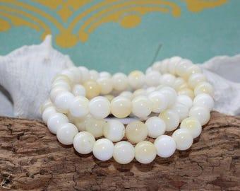 Shell Beads, shell beads, handmade, 6 mm