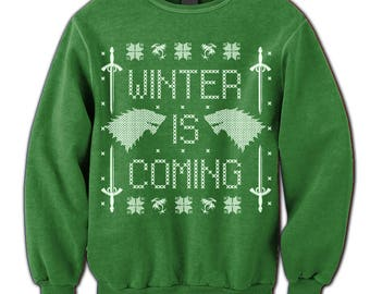 Winter Sweater. Winter Is Coming. Game of Thrones Fan Sweatshirt.  Jumper. Pulower. Wolf. Sword. Winterfell. Ugly Sweater. Party. Contest.