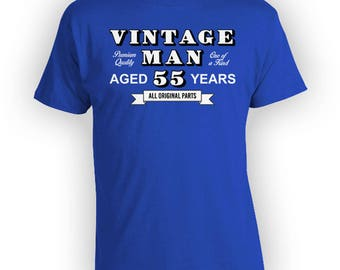 Personalized Birthday Shirt 55th Birthday Gift Custom T Shirt Personalized TShirt Bday Present Vintage Man Aged 55 Years Old Mens Tee -BG331