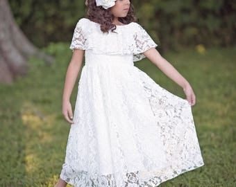 Boho Flower Girl Dress, White Lace Dress, Rustic Flower Girl, First Communion Dress, Girls Couture Dress, Girls Maxi Dress, Vintage Dress