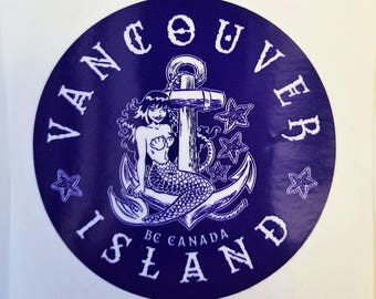 "Vancouver Island Mermaid 4"" x 4"" vinyl decal Blue"