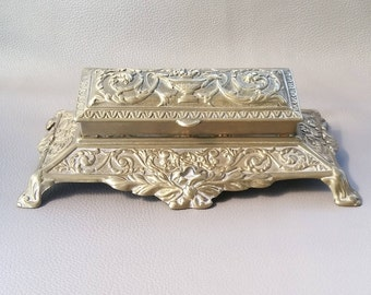 Large Solid Brass Five Compartment Stamp Box