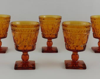 Indiana Glass Colony Park Lane Glass, Amber, Footed, Water, Wine, Lot of 5 Vintage, Inverted Thumbprint