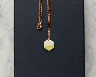 geometric Hexagon porcelain necklace
