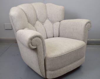 Mid Century Art Deco Danish Wool Lounge Club Arm Chair 1940s