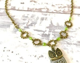 Wise Owl Choker Necklace / Bike Necklace, Bicycle Necklace, Owl Necklace, Bicycle Jewelry, Bike Jewelry, Steampunk, Vintage, Owls