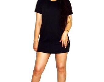 Black Cotton Jersey T-Shirt Dress