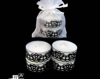 """Unscented Tea Lights with Black Lace, 1.5""""w x 0.6""""h, Organza Pouch (x3), Sparkly, Wedding, Bride, Dinner, Long-lasting, Aroma, Candles"""