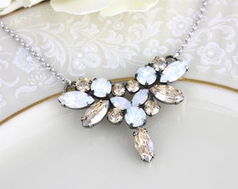 Crystal Bridal necklace, Wedding jewelry, White opal necklace, Champagne crystal necklace, Swarovski necklace, Antique silver necklace