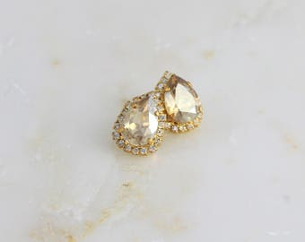 Champagne crystal earrings, Bridal jewelry, Bridal earrings, Swarovski crystal earrings, Stud earrings, Bridesmaid earrings, Gold earrings