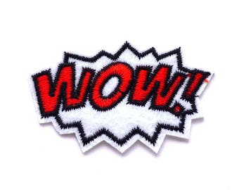 WOW! Patch, Wow Iron on Patch, Red WOW White Explosion Iron on Patch, WOW! Applique - H729