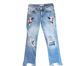 Floral Ripped High Waisted Vintage Denim