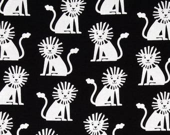 Fabric by the Yard-Mini Lions in Black by  Michael Miller-Nursery Fabric-Monochrome Fabric -Nursery  Bedding Fabric