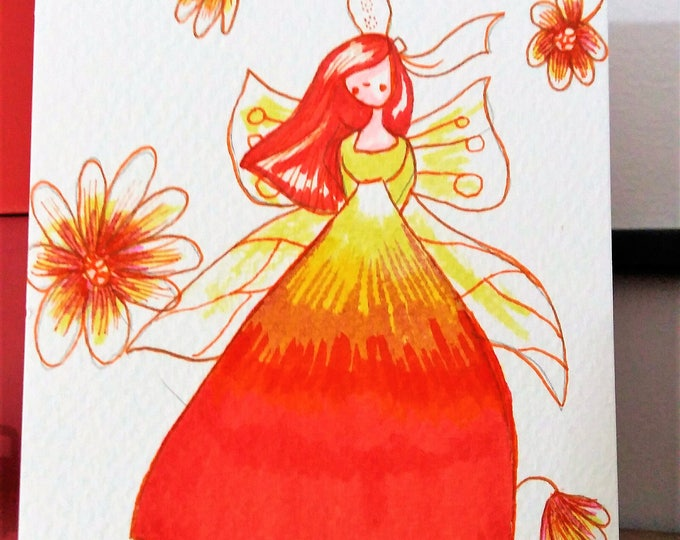 "Featured listing image: Carte postale "" Fée Amaryllis"""