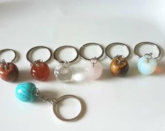 Natural Stone Apple Shape Charm keychain,Apple Keychains,stone key chain,Gemstone key ring,men's key chain,stone key ring, key ring,