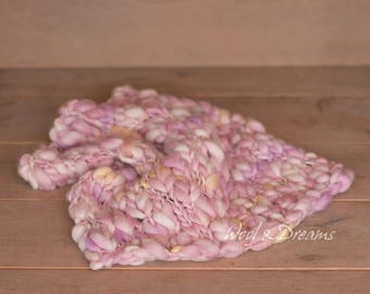 RTS Rose-Yellow-Mauve Handspun Blanket Newborn Photography Prop