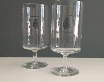 Retro Molson Export Stemmed Beer Glasses