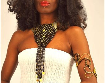 Handmade Fabric Bead Necklace with Matching Upper Arm Cuff, Egyptian Style Necklace, Gold Beaded Bib Necklace - African Jewelry Set