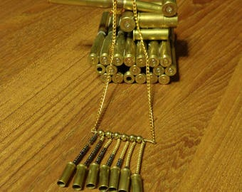 Bullet Jewelry- 22 Caliber Bullet Beaded Fringe Necklace