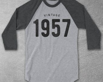 1957 Shirt - 1957 Vintage Baseball Tee - 60th Birthday gifts for Women & Men - 1957 Unisex T-Shirt - 60th Birthday Gift Ideas