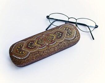 Painted glasses case Hard case for glass Oriental decor Eyeglass holder Grandmother gift Autumn accessories Oriental art Nana gift Dot art
