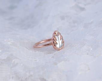 Silver Leaf   Electroformed Copper Ring