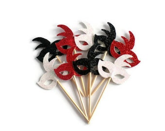 Red, Black and White Mardi Gras Mask Cupcake Toppers - Set of 12 Masquerade Party, Birthday Party, Costume, Bachelorette Party Fun Decor