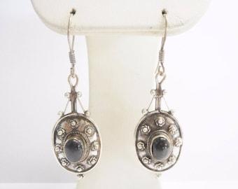 Vintage Earrings, Sterling Earrings, Dangle Earrings, Smoky Quartz, Sterling Silver Oval Cabochon Smoky Quartz Dangle Earrings #3211
