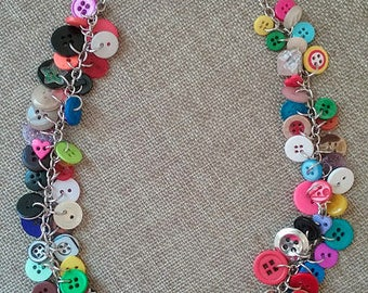 Multi Colored Button Necklace, Upcycled Button Necklace, Button Charm Necklace, Repurposed Button Necklace, Funky Button Necklace
