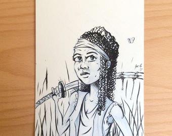 "Michonne 6"" x 9"" Illustration"