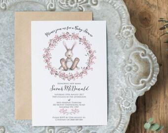 Bunny Baby Shower Invitation Printable, Printable Pink Girl Baby Shower Invitation, Editable Template, Floral Wreath Invite