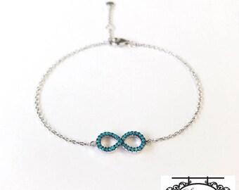Silver Infinity Bracelet / Infinity Bracelet / 925 Sterling Silver Infinity Bracelet / Blue Infinity Bracelet / Infinity Jewelry